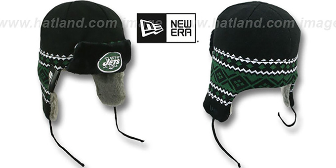 Jets 'TRAPPER' Black Knit Hat by New Era : pictured without stickers that these products are shipped with