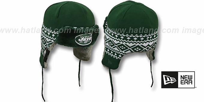 Jets 'TRAPPER' Green Knit Hat by New Era : pictured without stickers that these products are shipped with