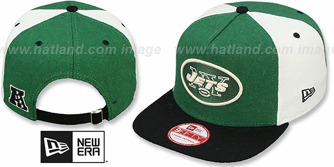 Jets 'TRIPLE MELTON STRAPBACK' Green-White-Black Hat by New Era : pictured without stickers that these products are shipped with