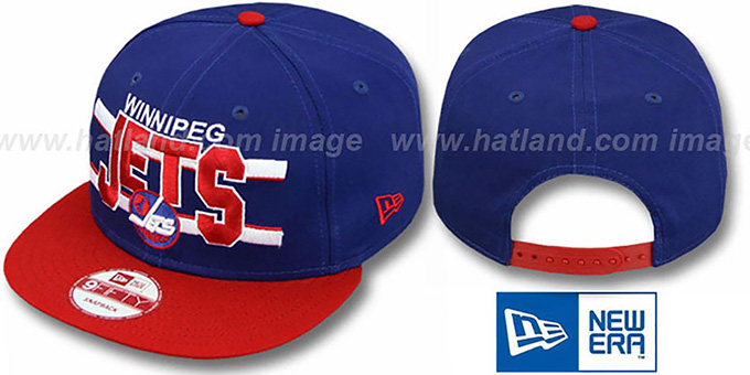Jets 'WORDSTRIPE SNAPBACK' Navy-Red Hat by New Era : pictured without stickers that these products are shipped with