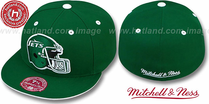 Jets 'XL-HELMET' Green Fitted Hat by Mitchell & Ness : pictured without stickers that these products are shipped with
