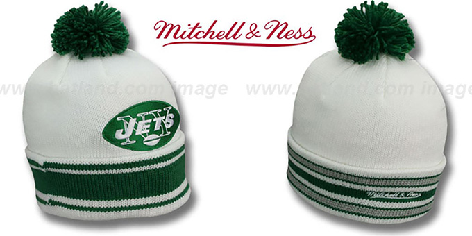 Jets 'XL-LOGO BEANIE' White by Mitchell and Ness : pictured without stickers that these products are shipped with