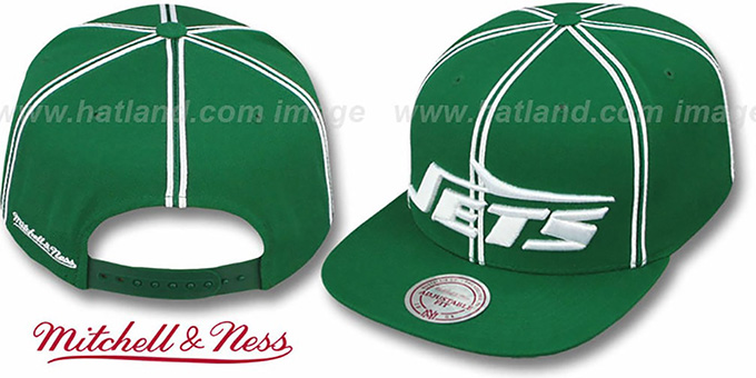 Jets 'XL-LOGO SOUTACHE SNAPBACK' Green Adjustable Hat by Mitchell & Ness : pictured without stickers that these products are shipped with