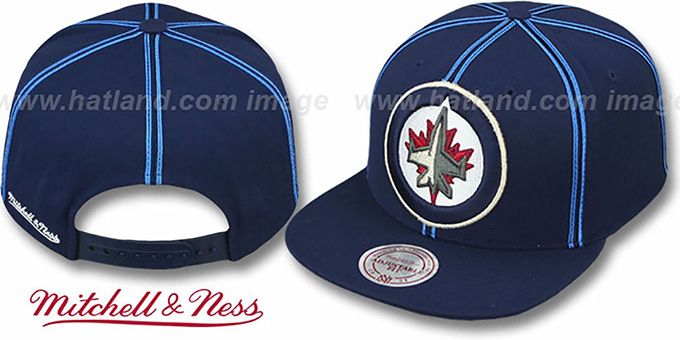 Jets 'XL-LOGO SOUTACHE SNAPBACK' Navy Adjustable Hat by Mitchell & Ness : pictured without stickers that these products are shipped with