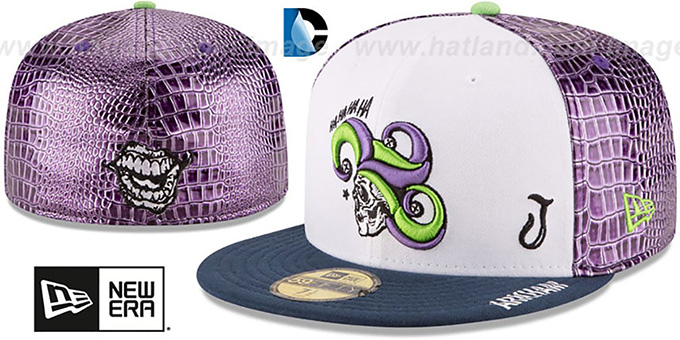 Joker  CHARACTER FACE  White-Purple-Navy Fitted Hat by ... 97b10501fce