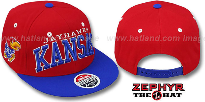 Kansas '2T SUPER-ARCH SNAPBACK' Red-Royal Hat by Zephyr : pictured without stickers that these products are shipped with
