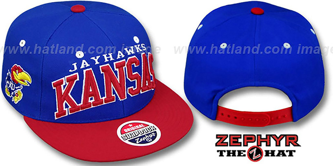 Kansas '2T SUPER-ARCH SNAPBACK' Royal-Red Hat by Zephyr : pictured without stickers that these products are shipped with
