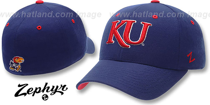Kansas 'DH 2' Royal Fitted Hat by Zephyr : pictured without stickers that these products are shipped with