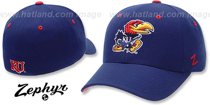 Kansas 'DHS' Royal Fitted Hat by Zephyr : pictured without stickers that these products are shipped with