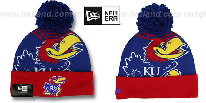 Kansas 'LOGO WHIZ' Royal-Red Knit Beanie Hat by New Era : pictured without stickers that these products are shipped with