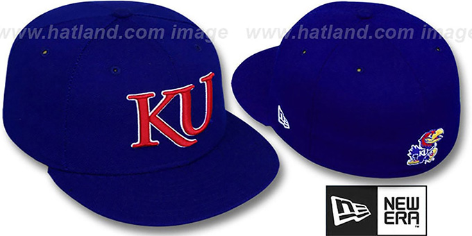 Kansas 'NCAA-BASIC' Royal Fitted Hat by New Era : pictured without stickers that these products are shipped with