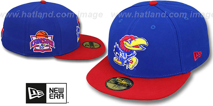 Kansas 'SIDE BASKETBALL-PATCH' Royal-Red Fitted Hat by New Era : pictured without stickers that these products are shipped with