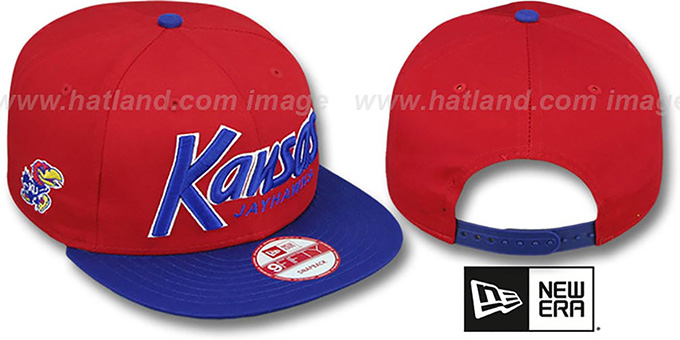 Kansas 'SNAP-IT-BACK SNAPBACK' Red-Royal Hat by New Era : pictured without stickers that these products are shipped with
