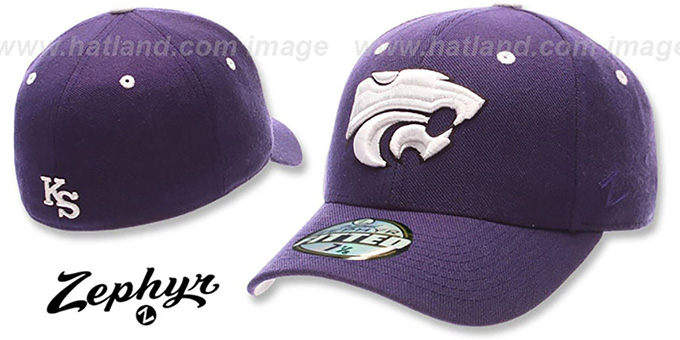 Kansas State 'DHS' Fitted Hat by ZEPHYR - purple : pictured without stickers that these products are shipped with