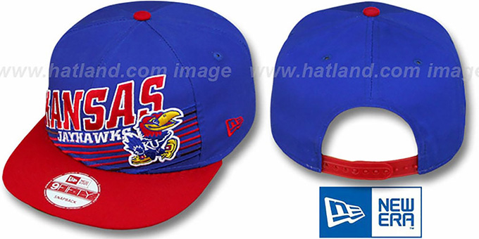 Kansas 'STILL ANGLIN SNAPBACK' Royal-Red Hat by New Era : pictured without stickers that these products are shipped with