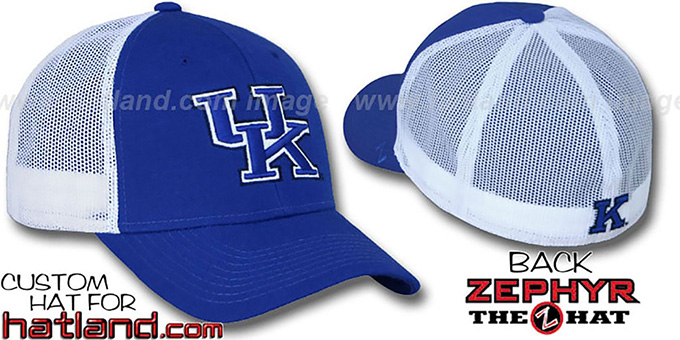 Kentucky 'DHS-MESH' Fitted Hat by Zephyr - royal-white : pictured without stickers that these products are shipped with