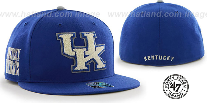 Kentucky 'NCAA CATERPILLAR' Royal Fitted Hat by 47 Brand : pictured without stickers that these products are shipped with