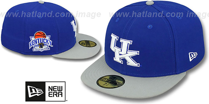 Kentucky 'SIDE BASKETBALL-PATCH' Royal-Grey Fitted Hat by New Era : pictured without stickers that these products are shipped with