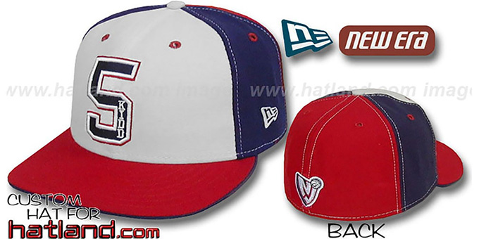 Kidd 'PINWHEEL' White-Navy-Red Fitted Hat by New Era : pictured without stickers that these products are shipped with