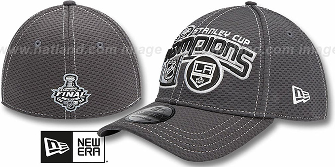 Kings 2012 'STANLEY CUP CHAMPS' Grey Stretch Fit Hat by New Era : pictured without stickers that these products are shipped with