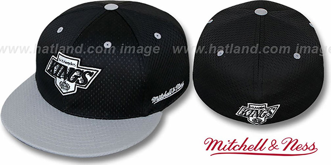Kings '2T BP-MESH' Black-Grey Fitted Hat by Mitchell & Ness : pictured without stickers that these products are shipped with