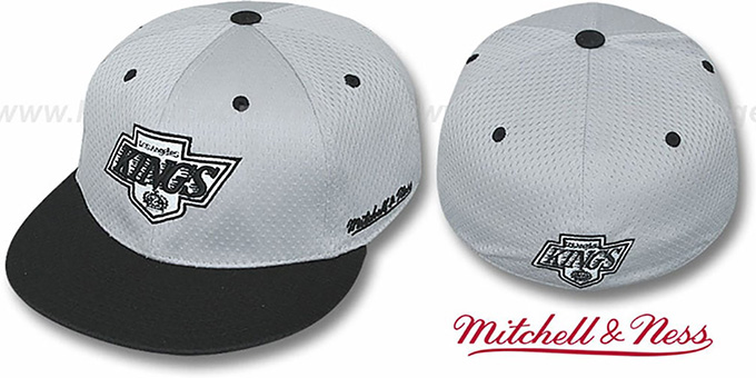 Kings '2T BP-MESH' Grey-Black Fitted Hat by Mitchell & Ness : pictured without stickers that these products are shipped with