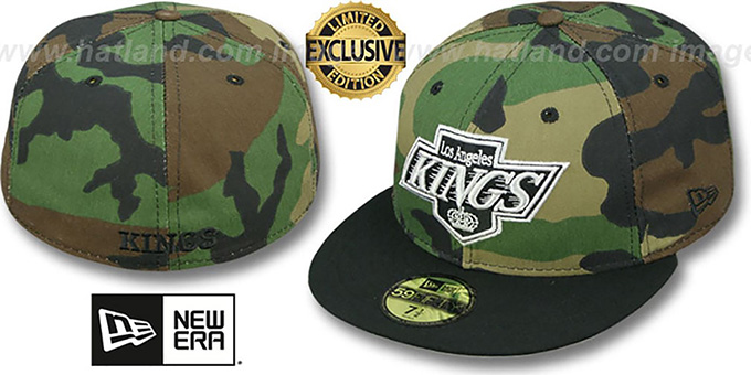 Kings '2T CAMO' Army-Black Fitted Hat by New Era : pictured without stickers that these products are shipped with