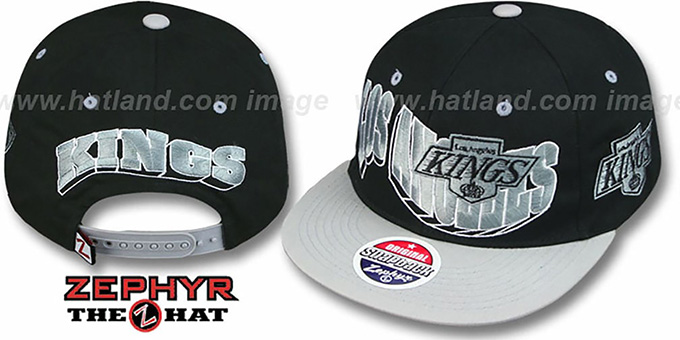 Kings '2T FLASHBACK SNAPBACK' Black-Grey Hat by Zephyr : pictured without stickers that these products are shipped with