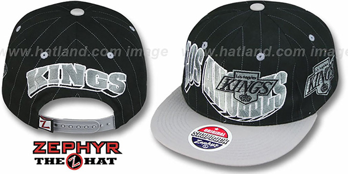 Kings '2T PINSTRIPE FLASHBACK SNAPBACK' Black-Grey Hat by Zephyr : pictured without stickers that these products are shipped with