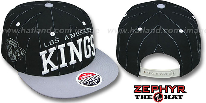 Kings '2T PINSTRIPE SUPER-ARCH SNAPBACK' Black-Grey Hat by Zephyr : pictured without stickers that these products are shipped with