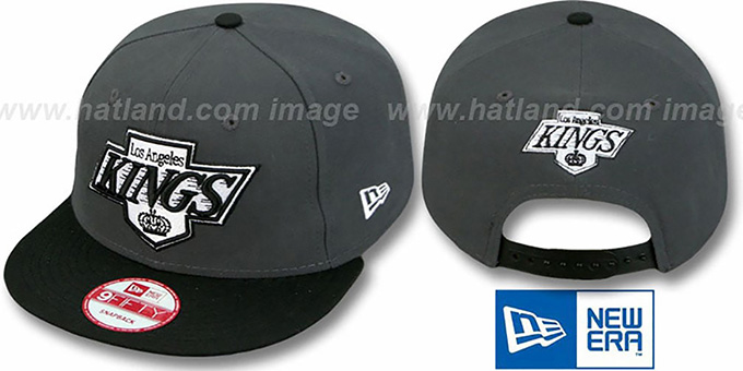 Kings '2T TEAM-LOGO SNAPBACK' Grey-Black Hat by New Era : pictured without stickers that these products are shipped with