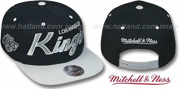 Kings '2T TEAM-SCRIPT SNAPBACK' Black-Grey Hat by Mitchell and Ness : pictured without stickers that these products are shipped with