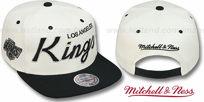 Kings '2T TEAM-SCRIPT SNAPBACK' White-Black Hat by Mitchell and Ness : pictured without stickers that these products are shipped with