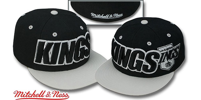 Kings '2T WORDMARK' Black-Grey Fitted Hat by Mitchell & Ness : pictured without stickers that these products are shipped with