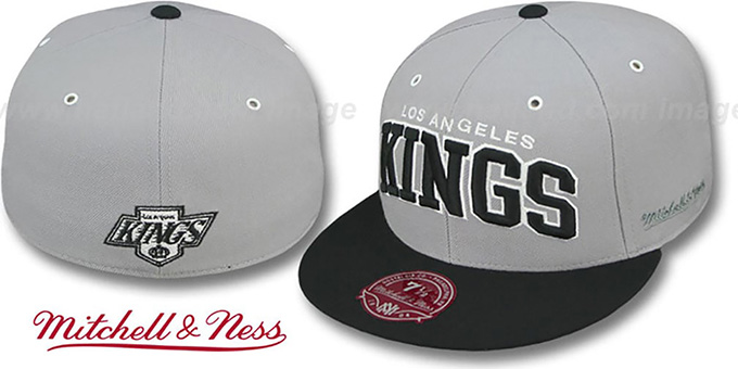 Kings '2T XL-WORDMARK' Grey-Black Fitted Hat by Mitchell & Ness : pictured without stickers that these products are shipped with