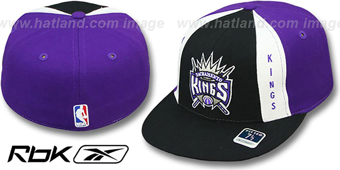 Kings 'AJD THROWBACK PINWHEEL' Black-Purple Fitted Hat by Reebok : pictured without stickers that these products are shipped with