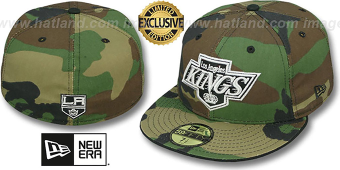 Kings 'ARMY CAMO' Fitted Hat by New Era : pictured without stickers that these products are shipped with
