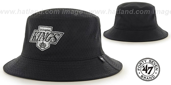 Kings 'BACKBOARD JERSEY BUCKET' Black Hat by Twins 47 Brand : pictured without stickers that these products are shipped with