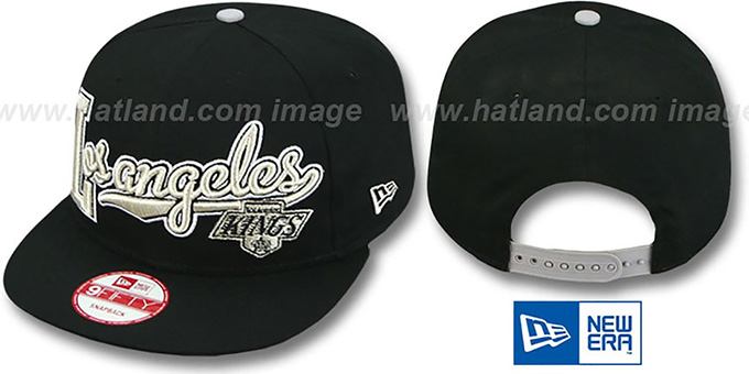 Kings 'BLOCK-SCRIPT SNAPBACK' Black Hat by New Era : pictured without stickers that these products are shipped with