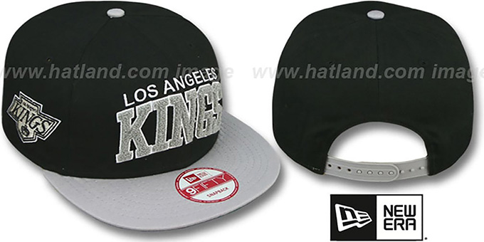 Kings 'CHENILLE-ARCH SNAPBACK' Black-Grey Hat by New Era : pictured without stickers that these products are shipped with