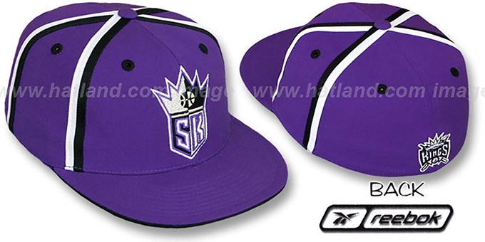 Kings 'DOUBLE DRIBBLE' Fitted Hat by Reebok - purple : pictured without stickers that these products are shipped with