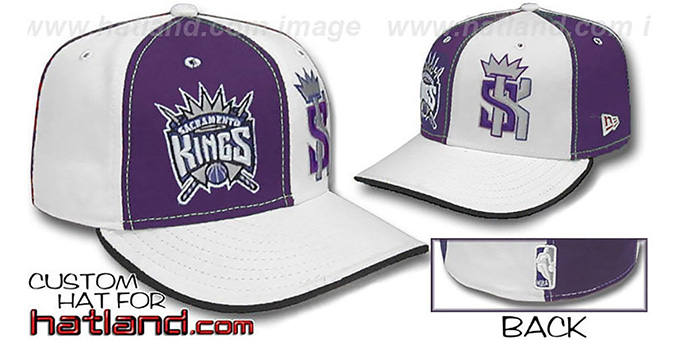 Kings 'DOUBLE WHAMMY' Purple-White Fitted Hat : pictured without stickers that these products are shipped with