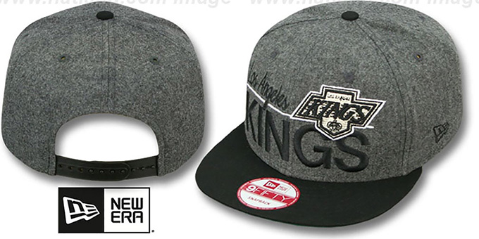 Kings 'FLANNEL SNAPBACK' Grey-Black Hat by New Era : pictured without stickers that these products are shipped with