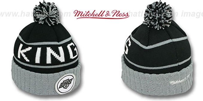 Kings 'HIGH-5 CIRCLE BEANIE' Black-Grey by Mitchell and Ness : pictured without stickers that these products are shipped with