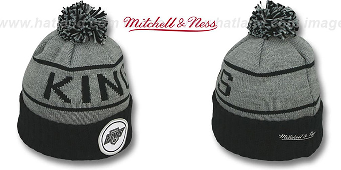 Kings 'HIGH-5 CIRCLE BEANIE' Grey-Black by Mitchell and Ness : pictured without stickers that these products are shipped with