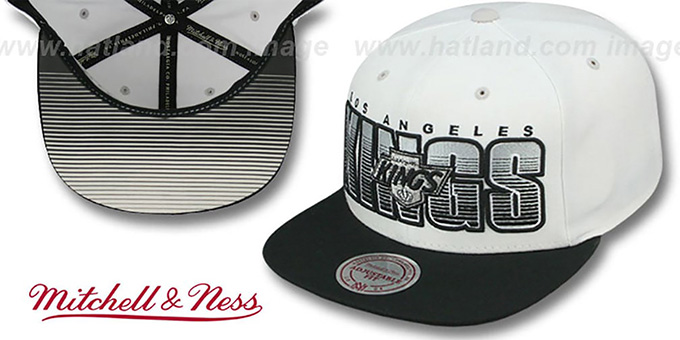Kings 'HOMESTAND SNAPBACK' White-Black Hat by Mitchell & Ness : pictured without stickers that these products are shipped with
