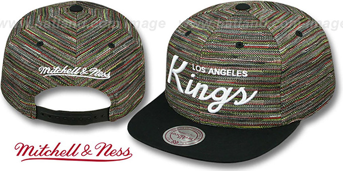 Kings 'KNIT-WEAVE SNAPBACK' Multi-Black Hat by Mitchell and Ness : pictured without stickers that these products are shipped with