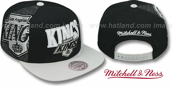 Kings 'LASER-STITCH SNAPBACK' Black-Grey Hat by Mitchell & Ness : pictured without stickers that these products are shipped with