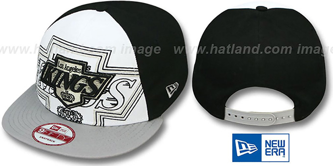 Kings 'LITTLE-BIG POP SNAPBACK' White-Black-Grey Hat by New Era : pictured without stickers that these products are shipped with