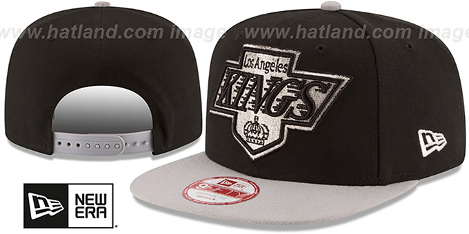 Kings 'LOGO GRAND REDUX SNAPBACK' Black-Grey Hat by New Era : pictured without stickers that these products are shipped with